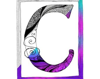 Adult Coloring Page, Coloring Letter C Alphabet Letter, Zen Doodle Art, Doodle Page, Digital Download, Printable Letters, Alphabet Doodles
