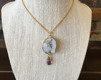 Rainbow Luster Druzy/Drusy Quartz Pendant Wire Wrapped Flourite Necklace Jewelry Gift