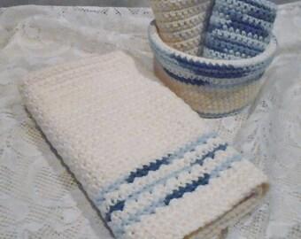100% Cotton Hand Crochet Towel, Dish/Face Cloths and Basket