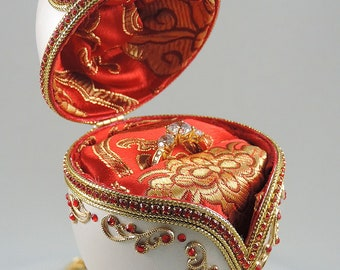 Red Engagement Ring Box, Red Hearts of Love Presentation Box, Wedding Ring Box, Wedding Gift Idea, Faberge Decorated Egg