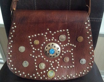 Vintage Real Leather crossbody bag, brown genuine leather bag.Handmade.1970's