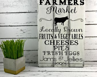 Farmers Market Sign - Rustic Farm Sign -Vintage Market Sign - Farmhouse Sign - Fixer Upper - Joanna Gaines Inspired - Mothers Day Gift