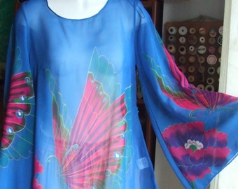 Vintage  S. Semi Sheer Tunic Blouse. Size S. Polyester Chiffon. Long Bell Sleeves. Pink Buterflies on Royal Blue. Used.
