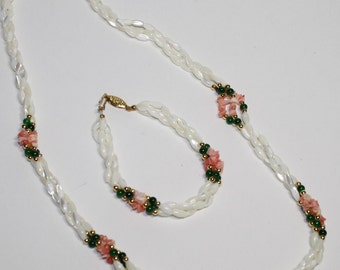 DEMI PARURE Twisted 3 strand MOP shell , Chipped pink coral & bead Necklace and Bracelet set