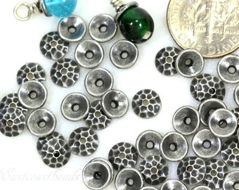 10 Hammered Bead Caps, TierraCast,  6mm, Antiqued Pewter, Jewelry Findings, Bead Caps, 6 mm Bead Caps, Hammered Caps, 10 Pieces,  6140