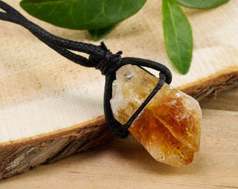 Raw CITRINE Crystal Necklace - Raw Citrine Necklace, Raw Citrine Jewelry, Citrine Pendant, Citrine Point, Healing Crystal Necklace E0929