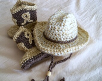 Baby Cowboy Hat and Boots Set - Baby Hat - Cowboy Set - Baby Booties - Western Set - by JoJo's Bootique