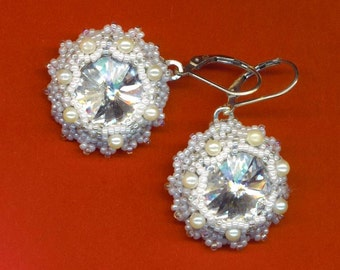 Bridal Beadwoven Earrings . Wedding Jewels . Nested Swarovski Crystal Rivoli . Moonlight  Earrings - Snow White by enchantedbeads on Etsy