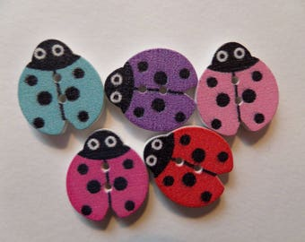 Set of 4 multicolored Ladybird wooden buttons