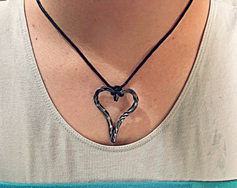 Forged heart pendant necklace