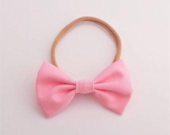 Mini Fabric Bow Nylon Headband - 25+ Colors, One Size Fits Most / Mini Bow Headband / Bow Headband / Baby Bow Headband / Newborn Headband