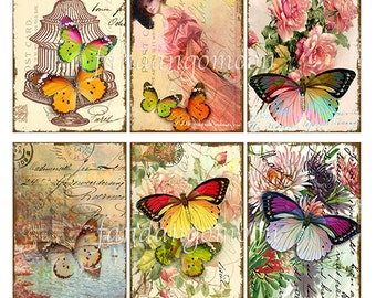 6 Images Butterfly Butterflies Floral Scene Woman 2.5 ACEO ATC Altered Art Antique Victorian Scrapbooking Digital Download Tags Cards Print