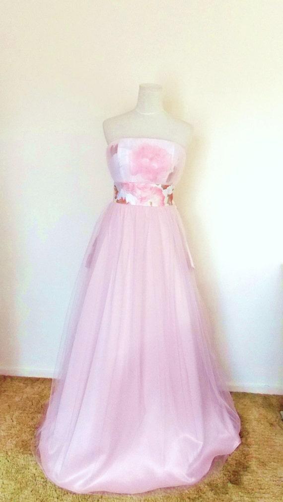 Brautkleid mit Vintage Braut KIMONO Pastell rosa Tüll