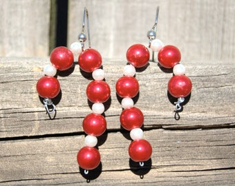 Christmas red white bead candy cane dangle earrings
