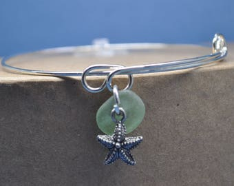 Atlantic sea glass silver adjustable bangle bracelet, bangle bracelet, charm bracelet, beachcomber bangle bracelet, made in Maine