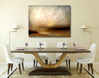 Abstract sunset  landscape large dreamy atmospheric painting gold tones