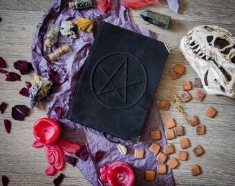 black pentagram sketchbook spellbook book of shadows, witchcraft, wicca, pagan, magic