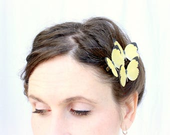 3 handmade yellow silk butterfly hair clips . through spring meadows I wander .  pure silk realistic gift for wedding, party, girls birthday