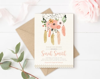 boho floral invitations, boho baby shower invitation, Boho shower invitation, Boho baby shower, rustic boho invitation
