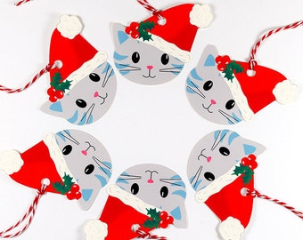Christmas Gift Tags, Set of 6 Grey Cat Tags, Cat Gift Tags, Wrapping, Packaging, Unique Gift Tags, One of a Kind, Santa Hat