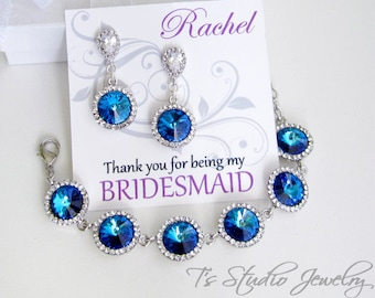 Bridesmaid Bracelet and Earring Gift Set - available in several colors - SONIA