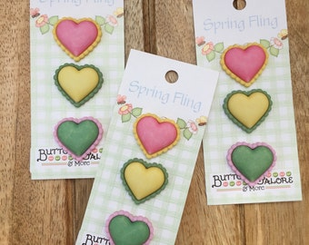 """Heart Buttons, Carded Novelty Buttons by Buttons Galore, Bazooples Collection, """"Chunky Hearts"""" Style SF123, Shank Back Buttons, Set of 3"""
