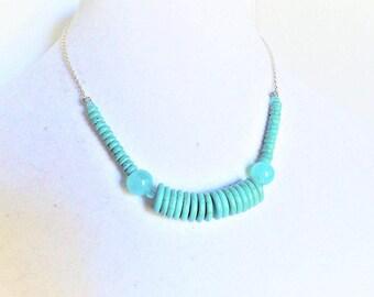 Aqua Blue Dyed Turquoise Heishi Beads Necklace