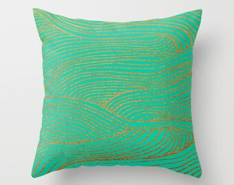 decorative pillow cover- mint green -gold- abstract modern design- lines- home decor- gifts for her