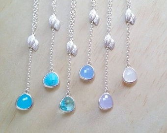 Blue Stone necklace Silver Leaf necklace Bridesmaid Gift Silver and Blue Lariat necklace Y necklace beach wedding trend Thank you card