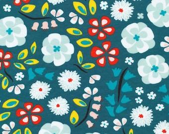 Prize Garden Teal - Sidewalk -  Cloud9 Fabrics - Organic Cotton - Knit by the Yard