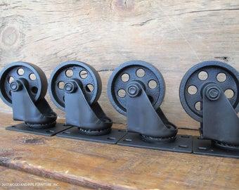 Vintage Industrial inspired metal Casters, Steel Wheels,Set of 4