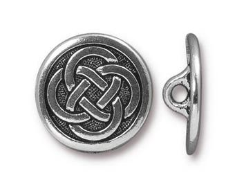 TierraCast Button, Metal Shank Button, Celtic Knot Button, Antiqued Silver Celtic Knot Button (TC-6567-12) - 16.35mm - Qty. 1
