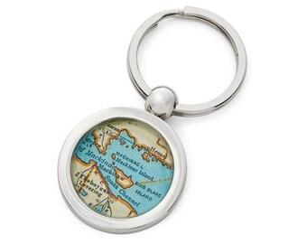 Mackinac Island Keychain Map Key Ring Fob Vintage Michigan Atlas  by sherrytruitt Free Shipping on Sale