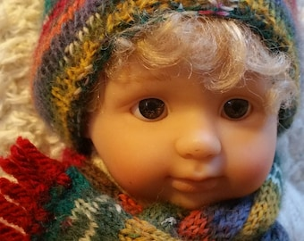 "Hand Knitted Hat and Scarf for 9.5""- 10"" Berenguer Baby Doll (# 0014)"