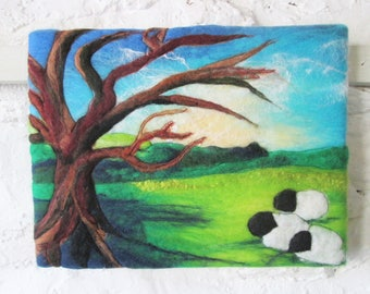 felted wool picture, wall art, tree and sheep