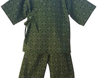 Kids Kimono Jinbei - WOVEN MOSS - Japanese pajamas loungewear boys kimono outfit boys pajamas