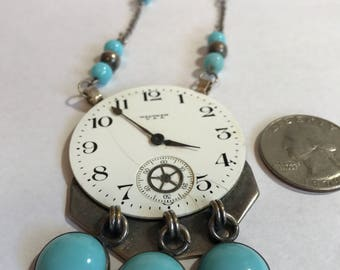 Unique Handmade Clockface Necklace with Turquoise Accents