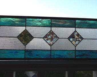 """Stained Glass Window Panel Bevels and Cubes 21 1/8"""" x 7 5/8"""""""
