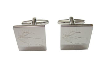 Silver Toned Etched Elk Cufflinks
