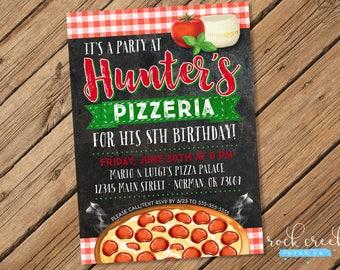 Pizzeria Pizza Party Invitation, Italian Pizza Party, New York Style Pizza, Pizza Party, Printable Birthday Party Invitation