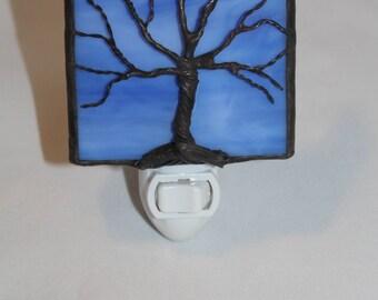 Wispy Blue Stained glass Nightlight  w/ wire tree