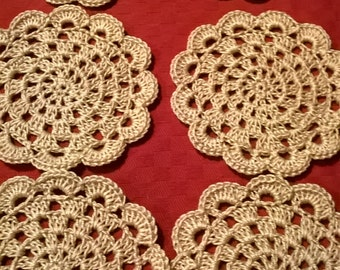 Handmade crochet coasters set