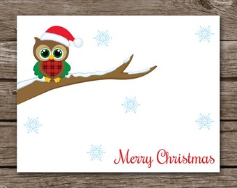 Owl Note Cards, Christmas Owl Note Cards, Holiday Note Cards, Personalized Cards, PRINTABLE