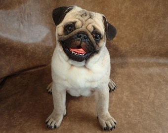 SOLD - Realistic Pug .Girl. Adult. Life-size Handmade Needle Felted Wool Animal Sculpture