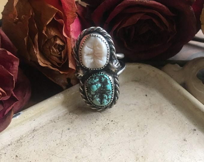 Single turquoise and human tooth ring