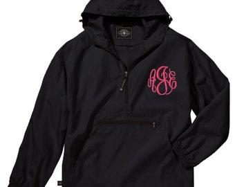 Monogram Rain Jacket | Preppy Windbreaker | Pullover Hooded Rain Coat | Personalized Raincoat | Black Quarter Zip | Black Pack N Go