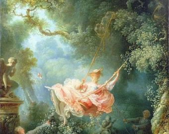 Fragonard (The Swing, 1767) Canvas Art Print Reproduction (21.7x16.8 in) (55x43 cm)