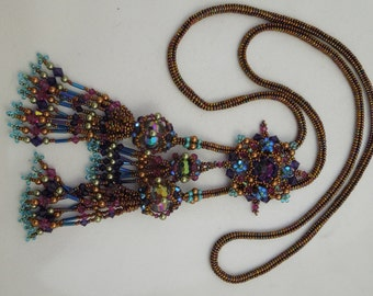 Tudor 3 Tassels Lariat/Necklace Tutorial - instant download