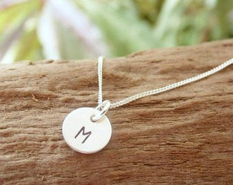 Dainty Initial Necklace Hand Stamped Tiny Sterling Silver Disc