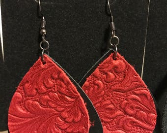 Leather tear drop embossed earrings